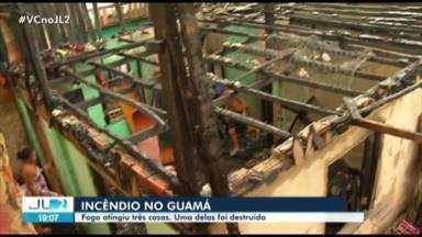 Incêndio atinge três casas no bairro do Guamá, em Belém - Uma das residências teve perda total.