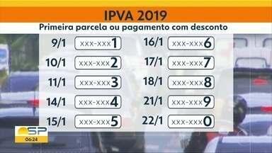 IPVA: 1ª parcela para veículos com final de placa 1 vence nesta quarta-feira - Data também é última oportunidade para pagamento integral com desconto de 3%.