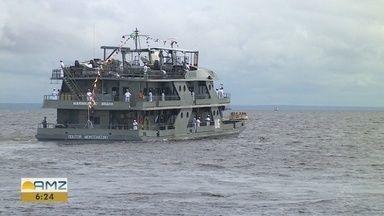 Navio Hospitalar da Marinha inicia viagem pelo Rio Juruá para atendimentos - Seis municípios do Amazonas e cinco do Acre serão atendidos.