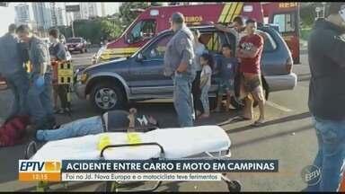 Acidente entre carro e moto deixa motociclista ferido em Campinas - Um carro colidiu com uma moto na manhã desta quarta-feira (9) em Campinas (SP). Com ferimentos na perna, o motociclista foi encaminhado ao Pronto Atendimento do Hospital Mario Gatti. O trânsito chegou a ser bloqueado por uma hora.