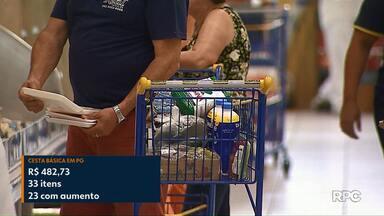 Cesta básica ficou 0,54% mais cara em Ponta Grossa - Aumento registrado neste mês foi impulsionado pelo reajuste de 23 itens que compõe a lista.