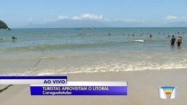 Praias estão movimentadas mesmo no meio da semana - O repórter Pedro Melo está no litoral norte.
