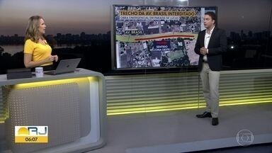 Trecho da Avenida Brasil será interditado para obra de duplicação da Transbrasil - No domingo (13), está programada uma interdição das pistas laterais dos dois sentidos, na altura de Barros Filho.