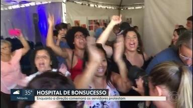Servidores fazem protesto contra festa no hospital federal de Bonsucesso - Enquanto hospital tem problemas graves na emergência, a direção organizou um evento para comemorar setenta anos do hospital.