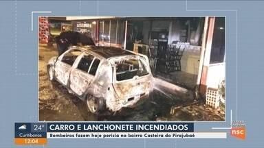 Corpo de Bombeiros realiza perícia em carro e lanchonete incendiados em Florianópolis - Corpo de Bombeiros realiza perícia em carro e lanchonete incendiados em Florianópolis