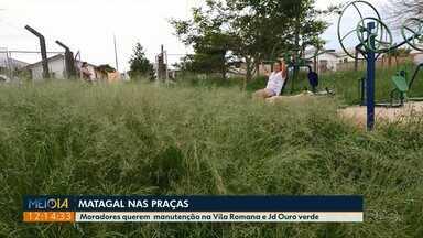Moradores da Vila Romana e do Jardim Ouro Verde, em PG, reclamam das condições de praças - Eles estão incomodados com mato alto e a retirada de brinquedos do parquinho.