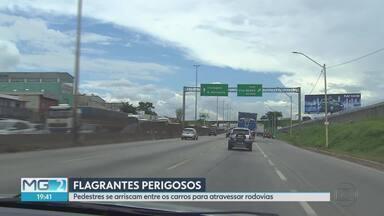 Seis de cada dez atropelamentos na Fernão Dias foram a menos de 1 km de passarela - Um dado alarmante, mas que é facilmente explicado quando registramos o comportamento de quem precisa atravessar de um lado a outro da pista.