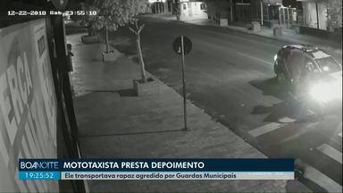 Agressão Guardas: Mototaxista presta depoimento - Ele transportava o rapaz agredido por Guardas Municipais de Cascavel