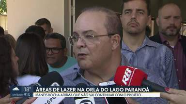 """Ibaneis Rocha afirma que não vai fazer obras na orla do Lago Paranoá - O ex-governador Rodrigo Rollemberg reagiu nas redes sociais e disse que Ibaneis Rocha """"agora quer impedir o povo de andar na orla""""."""