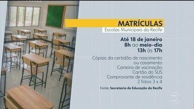 Recife ainda tem 5 mil vagas disponíveis na rede municipal de ensino - Matrículas devem ser feitas até o dia 18 de janeiro, das 8h às 12 e das 13h às 17h.