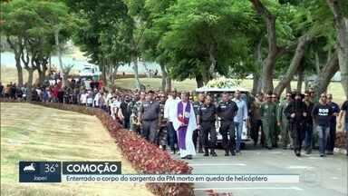 Enterrado o corpo do policial militar que morreu em acidente com helicóptero ontem - O sargento Felipe Queirós tinha 37 anos e estava há 14 na corporação. Ele foi velado na sede do GAM, em Niterói e enterrado no cemitério Jardim da saudade, em Sulacap.