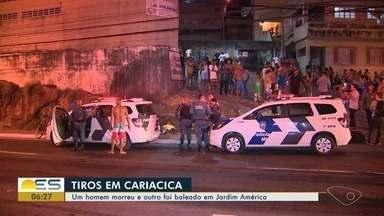Jovem é morto e outro é baleado em Jardim América, Cariacica, ES - Moradores da região dizem que os dois eram assaltantes.