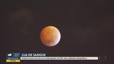 Nuvens atrapalham observação de eclipse total da lua em Belo Horizonte - Este foi o primeiro fenômeno astronômico do ano.