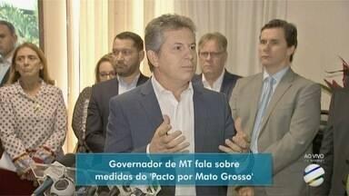 """Governador Mauro Mendes fala em coletiva sobre medidas do """"Pacto por Mato Grosso"""" - Governador Mauro Mendes fala em coletiva sobre medidas do """"Pacto por Mato Grosso""""."""