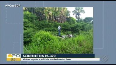 Viatura da polícia militar capota na PA-320, no nordeste do estado - Segundo a PM, eles tiveram ferimentos leves e passam bem.