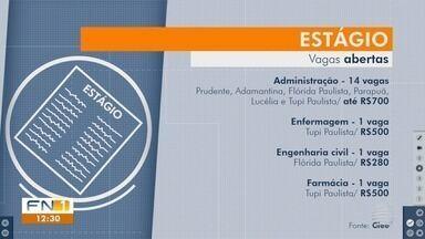 Confira as oportunidades de estágio na região de Presidente Prudente - Estudantes interessados devem procurar o Ciee.
