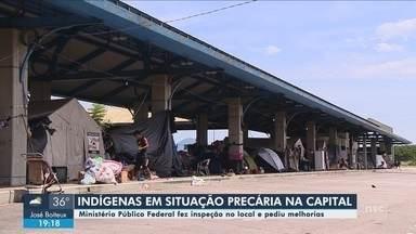 Após inspeção, MP cobra melhorias em terminal desativado que abriga indígenas na capital - Após inspeção, MP cobra melhorias em terminal desativado que abriga indígenas em Florianópolis