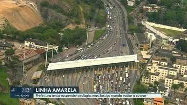 Prefeitura manda suspender pedágio na Linha Amarela, no sentido Barra-Fundão - Mas no começo da noite desta sexta, a LAMSA conseguiu uma liminar da Justiça derrubando o decreto do prefeito Marcelo Crivella
