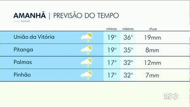 Fim de semana será de chuva moderada em Guarapuava e região - O sol pode aparecer entre poucas nuvens durante o dia.
