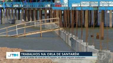 Águas do Rio Tapajós alcançam obras do projeto 'Orla' e invadem muro de contenção - Agora, os trabalhos seguem acelerados para realizar o aterro antes que o nível do rio ultrapasse a altura do muro e as obras fiquem prejudicadas.