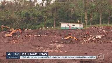 Depois de chuva, helicópteros voltaram a sobrevoar área atingida em Brumadinho - 11º dia de buscas contou com 15 máquinas pesadas pra escavar as montanhas de rejeitos
