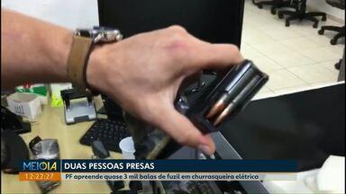 PF apreende quase 3 mil balas de fuzil dentro de churrasqueira elétrica - Duas pessoas também foram presas pela PF, uma delas no aeroporto de Cascavel.