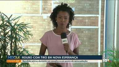 Bandido atirou durante um assalto em Nova Esperança - Dois homens armados anunciaram assalto a um posto de arrecadação.