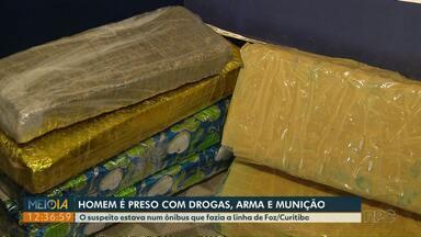 Uruguaio é preso com drogas, arma e munição - Prisão foi feita pela PRF em Santa Terezinha de Itaipu.