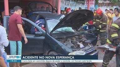 Motorista fica gravemente ferido após carro se chocar com caçamba, em Macapá - Acidente ocorreu nesta segunda-feira (11), no cruzamento da Rua Minas Gerais com a Avenida Padre Júlio, no bairro Nova Esperança.