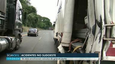 Veículos se envolvem em acidentes no sudoeste - Nas duas situações os envolvidos eram veículos de grande porte.