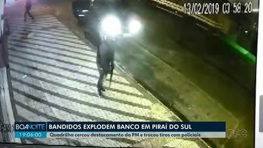 Bandidos explodem agência bancária, em Piraí do Sul - Uma mulher que tentou fugir ficou gravemente ferida.