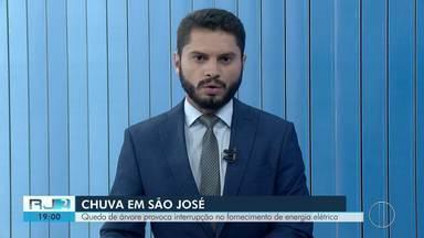 Queda de árvore interrompe fornecimento de energia em São José do Vale do Rio Preto, no RJ - Assista a seguir.