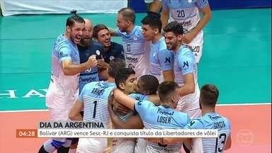 Bolívar vence Sesc-RJ e conquista título da Libertadores de Vôlei - Três sets a zero e festa dos argentinos em jogo disputado na cidade de Taubaté, em São Paulo.