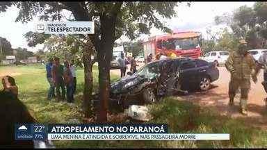 Acidente mata adolescente e fere criança no Paranoá - O carro invadiu a contramão, atropelou menina de 9 anos e bateu em uma árvore. Acidente foi na descida da DF 015, no Paranoá.