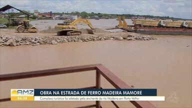 Obra na Estrada de Ferro Madeira Mamoré - Complexo foi afetado pela enchente do Rio Madeira em Porto Velho