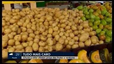 Instabilidade, chuva e calor faz aumentar o preço de verduras e frutas em Divinópolis - Custo para alguns produtores subiu em até 70% e a diferença já é percebida pelo consumidor na hora das compras.