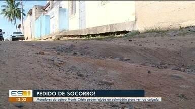 Moradores de bairro de Cachoeiro pedem ajuda ao calendário para ver rua calçada no ES - Comunidade de Monte Cristo espera solução da prefeitura.