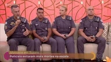 Primeira equipe a entrar na escola evitou mais mortes em Suzano - Fátima recebe os policiais que foram os primeiros a entrar na escola Raul Brasil e deram fim ao massacre