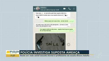 Ameaça de ataque no colégio Álvaro Adolfo assusta alunos e professores, em Santarém - A circulação do print de uma conversa entre duas pessoas mobilizou a Polícia, na tarde de quinta-feira (14). O caso está sendo investigado. PM diz que não há motivos para preocupações.
