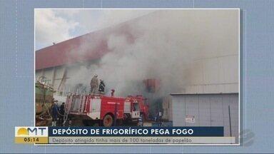 Depósito de frigorífico pega fogo em Confresa - Depósito de frigorífico pega fogo em Confresa