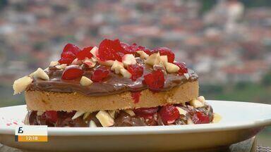 Prato Feito: Kassab ensina receita de bolo refrescante - Cerejas, doce de leite e castanhas do pará dão um toque especial ao resultado final.