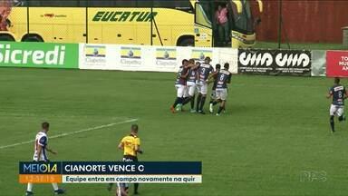 Cianorte vence o Cascavel CR por 1 x 0 - Equipe entra em campo novamente na quinta-feira contra o Paraná Clube.