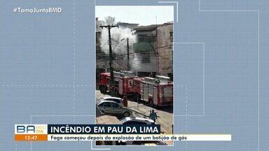Explosão de gás provoca incêndio em casa no bairro do Pau da Lima - O morador tinha acabado de ligar o fogão quando o caso aconteceu.