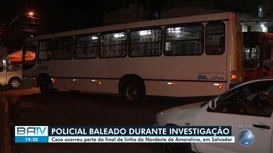 Rodoviários param de circular após PM ser baleado no local - O caso aconteceu no final de linha do Nordeste de Amaralina.