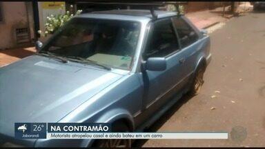 Polícia Civil tem novas imagens de motorista que atropelou casal e fugiu em Sertãozinho - Vídeo mostra carro na contramão na Avenida José Ferreira Fontes.