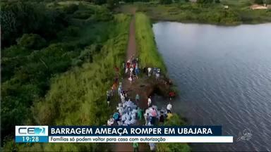 Famílias deixam casas, com ameaça de rompimento em açude - Barragem Granjeiro corre risco de romper e inundar residências no entorno, em Ubajara