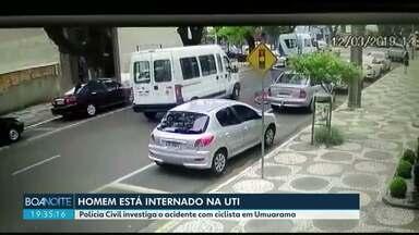 Polícia civil investiga acidente com ciclista no centro de Umuarama - As imagens são fortes. Homem cai debaixo de uma Van.