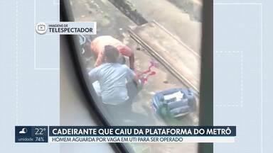 É grave o estado de saúde do cadeirante que caiu da plataforma do metrô - Francelino Monteiro da Silva Neto, de 58 anos, foi transferido de Ceilândia para o Centro de Trauma do Instituto Hospital de Base. Agora, Francelino aguarda por uma vaga na UTI com suporte neurocirúrgico.