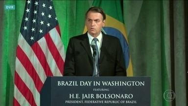 Jair Bolsonaro se encontra nesta terça (19) com Donald Trump na Casa Branca - Ontem, Bolsonaro defendeu novas parcerias entre os dois países e afirmou que conta com o apoio americano para resolver a situação da Venezuela