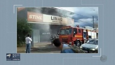 Incêndio destrói loja de máquinas agrícolas em São Sebastião do Paraíso - Incêndio destrói loja de máquinas agrícolas em São Sebastião do Paraíso